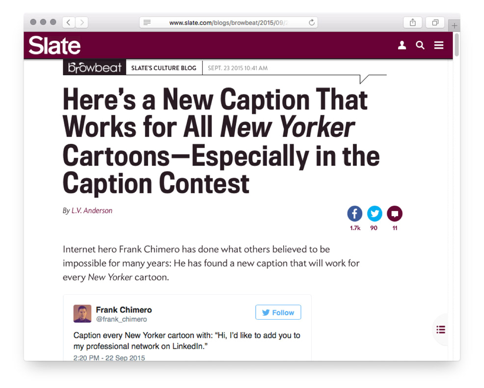 Screengrab of Slate coverage